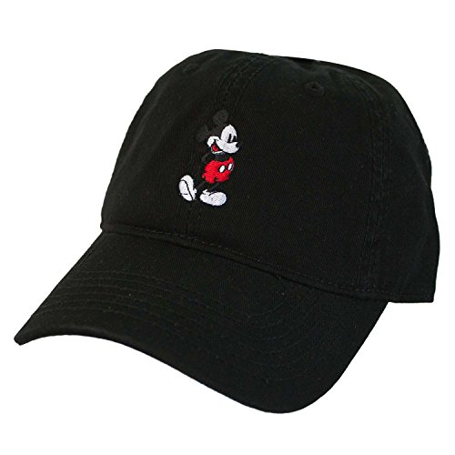 Mickey Mouse Hats (Disney Men's Mickey Washed Twill Baseball Cap, Adjustable, Black, ONESIZE)