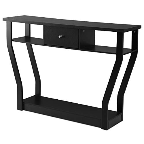 Accent Console Table Modern Sofa Entryway Hallway Hall Furniture with Drawer Black - Table Glass Demilune Console