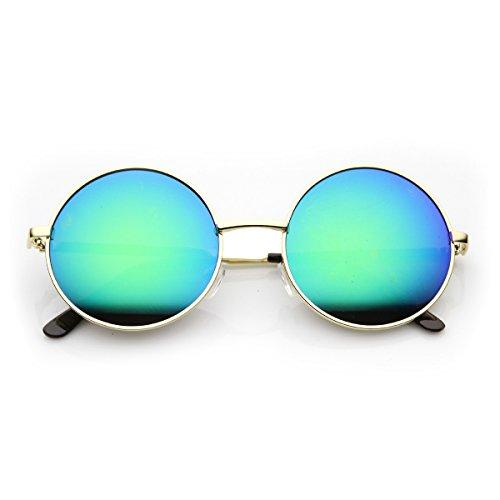 zeroUV - Round Large Lennon Style Flash Mirror Festival Sunglasses (Gold midnight) (Large Lennon Style Sunglasses)