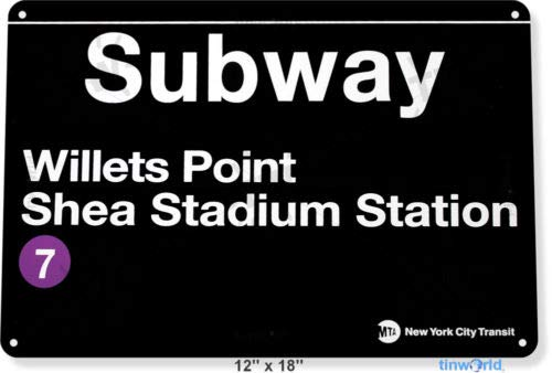 (TIN Sign 8x12 inch Subway Shea Stadium Willets Point Metal New York Garage)