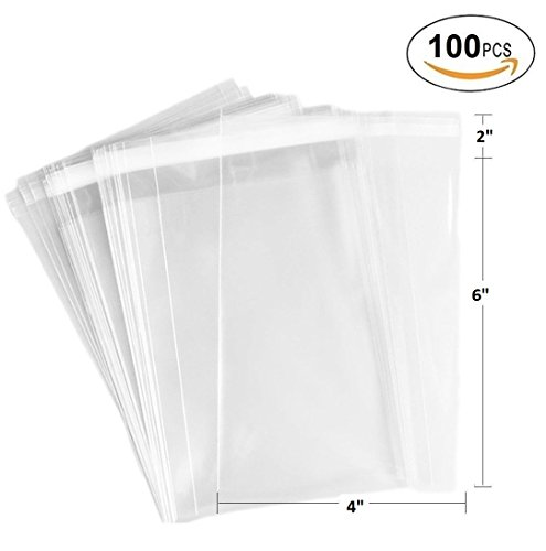 888 Display USA 100ct Clear Plastic Bags 4x6-2 mils Thick Self Sealing OPP Cello Bags for Bakery Cookies Decorative Wrappers (4'' x (100 Pack 4' Stick)