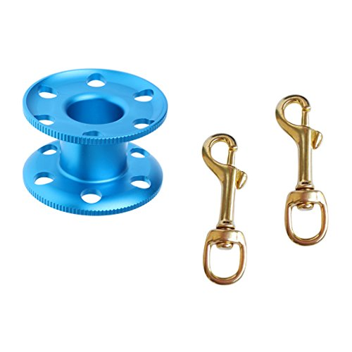 MonkeyJack 2 Pieces Single Ended Brass Swivel Eye Bolt Snap Hook Clip with Empty Aluminum Alloy Finger Spool for Scuba Diving Snorkeling by MonkeyJack (Image #3)