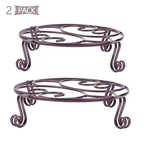 Yimobra 2 Pack Plant Stand for Flower Pot Heavy Duty Potted Holder Indoor Outdoor Metal Rustproof Iron Garden Container Round Supports Rack for Planter Bronze,Brown,11.8 Inches
