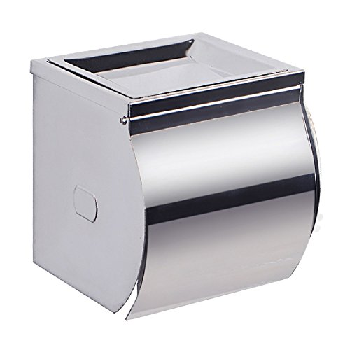 good TEN-HIGH Stainless Steel Simple Square Toilet Paper Holder with Cover, Chrome