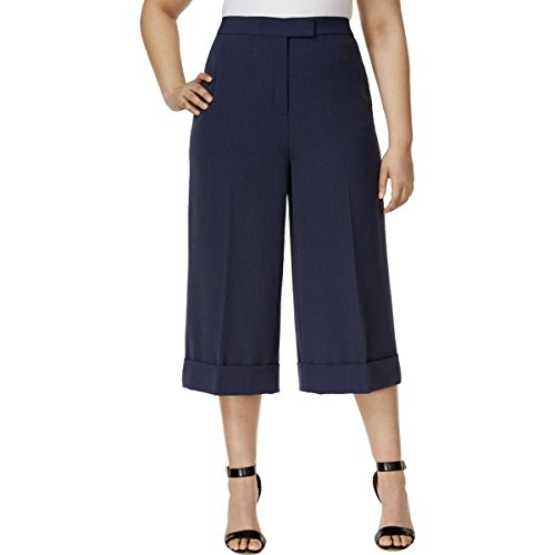 Anne Klein Womens Plus Cuffed Cropped Culottes Navy ()