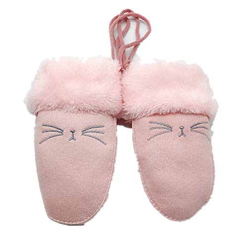 Lovely Cartoon Kids Winter Soft Warm Faux Suede Plush Fingerless Mittens Gloves with Rope - Ssg Winter Mittens