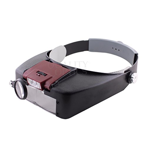 Quality Optics Headlamp Magnifier 8.5x LED Illuminated Headband For Precision Work, and Reading - Eyeglass Face Shape For Long