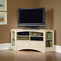Corner Entertainment Center - Antique White Finish