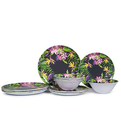 Melamine Dinnerware Set - 12pcs Indoor and Outdoor Dinnerware Sets for 4, Suitable for Summer Camping, Dishwasher Safe, Lightweight, Unbreakable, Floral Pattern, Dark Purple (Floral Dinnerware Purple)