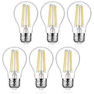 Defurhome A19 Filament LED Light Bulb, 6W (60W Equivalent), Classic E26 Clear Glass LED Bulbs, 750 Lumens, Warm White 2700K, Non-Dimmable, Standard Replacement (6-Pack)