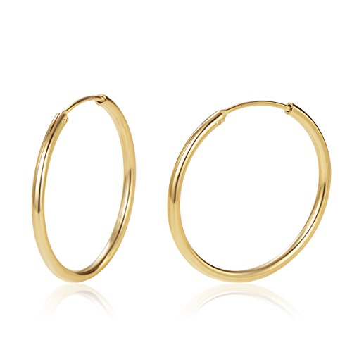 old Plated 925 Sterling Silver Dainty Endless Hoop Earrings for Women Girls (30mm) ()