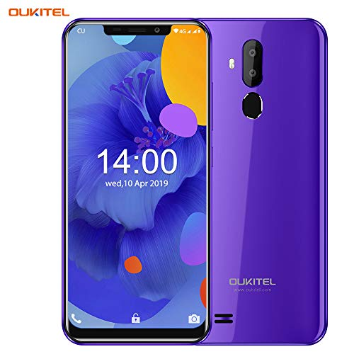 OUKITEL C12 (2019) Unlocked Smartphone Global 3G, 6.18 ich (19:9) Screen, 2GB +16GB, Android 8.1 OS, 8MP+2MP Cameras, Dual Sim, Face Fingerprint Recognition Unlocked Cell Phones- Purple