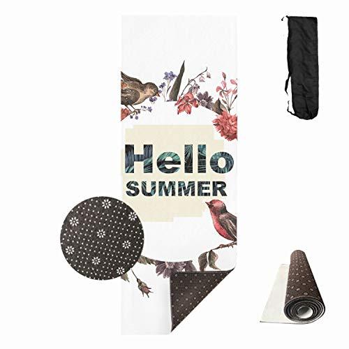 - Hello Summer Bird Flowers Yoga and Pilates Mat Fitness mat Gym mat