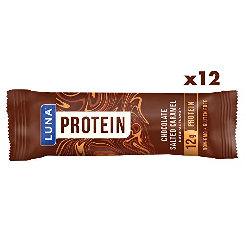 Luna Protein - Gluten Free Protein Bars - Chocolate Salted Caramel Flavor - (1.59 Ounce Snack Bars, 12 Count) (Luna Protein Bars Cookie Dough)