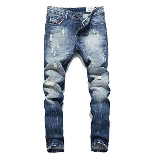 Pantalones Vaqueros Delgados De Los Hombres Ajustados Slim Fit De Vaqueros La Cintura Media Pantalones Vaqueros Rasgados Elegantes De Los Pantalones Vaqueros De La Vendimia del Vintage Azul