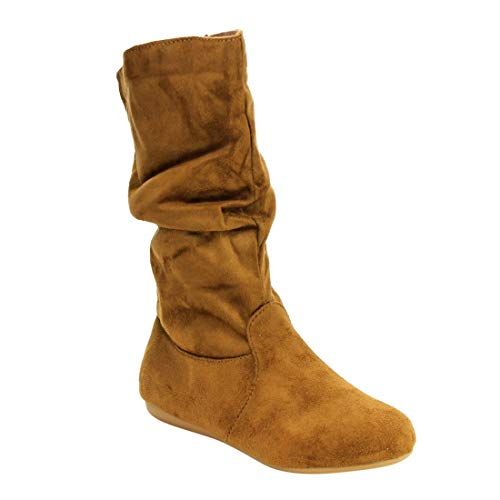 TOP Moda Women's Round Toe Slouchy Boot with Buckle (5, Premium New Tan Faux ()