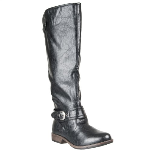 BAMBOO Womens Mid-Calf Montage Riding Boots, Black, 7