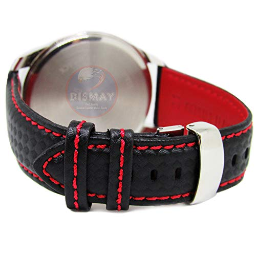 Black Carbon Fiber Watch Band - Dismay 21mm Carbon Fiber Leather Black - Red Stitching Watch Strap Band