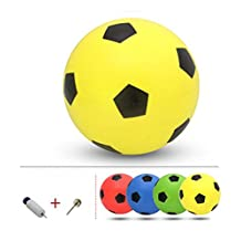 Inflatable Soccer Balls Pool Party Favor Beachballs Outdoor Yellow, 8.3''