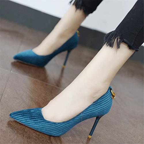 Baja tacón Estilete UE señaló YMFIE Viento Banquete Zapatos de de de Pana de Retro señoras Solos de Moda Boca Las Moda 35 de del de Zapatos 35 EU Alto Temperamento la FYqwFa