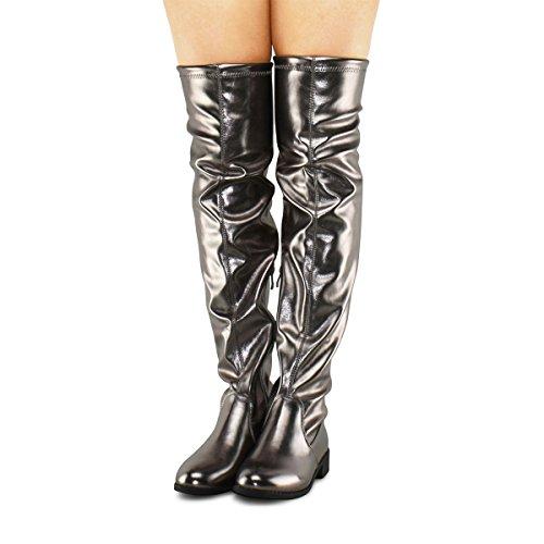 Premier Standard Damenmode Bequeme Vegane Wildleder Blockabsatz Seitlicher Reißverschluss Zurück Spitze Oberschenkel Hohe Overknee Stiefel Zinn Pu