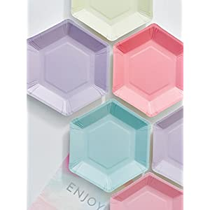 Talking Tables We Heart Pastel Small Hexagonal Matte Disposable Plates, 12 count, for a Birthday Party or Celebration, Multicolor