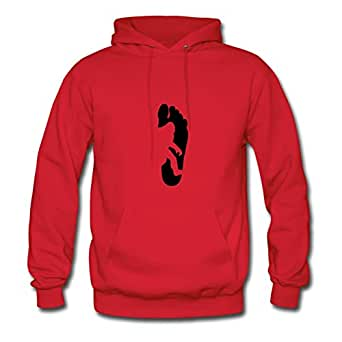 Bigfoot Footprint Printed Round-collar : X-large Womenhoodies Red- Made In Good Quality.