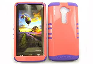 SHOCKPROOF HYBRID CELL PHONE COVER PROTECTOR FACEPLATE HARD CASE AND LIGHT PURPLE SKIN WITH STYLUS PEN. KOOL KASE ROCKER FOR LG G2 VS980I LIGHT RED LP-A016-IA