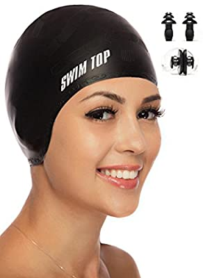 Premium Silicone Swim Cap for Long Hair + Nose Clip