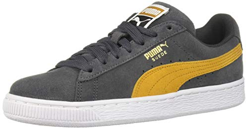 PUMA Men's Suede Classic Sneaker, Iron gate-Buckthorn Brown White, 10.5 M US