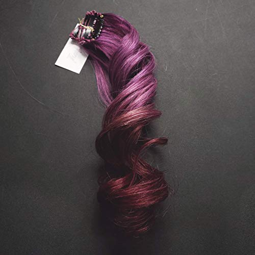 Amazon.com: 16 inch Purple Clip in Human Hair Extensions ...