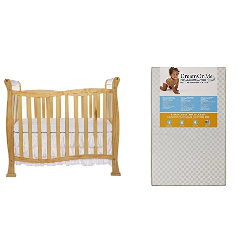 Dream On Me Violet 4 in 1 Convertible Mini Crib  with Dream On Me 3 Portable Crib Mattress, White