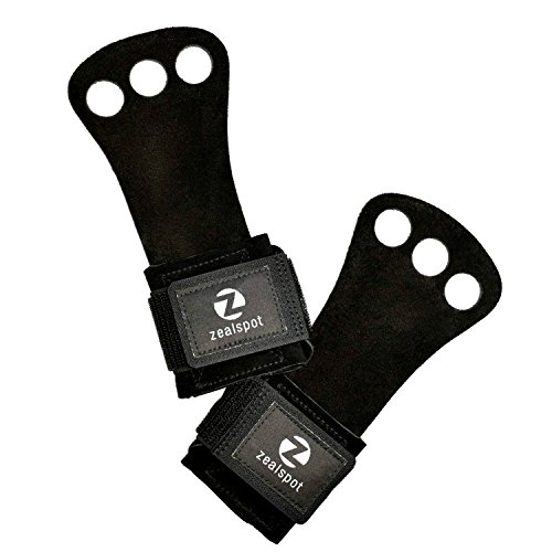 Z ZEALSPOT 3 Holes Leather Gymnastics Hand Grips for pullups, Weight Lifting, Powerlifting,Chin ups, Exercise, Kettlebell and Barbells,Black,S