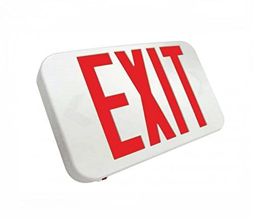 Compact LED Exit Sign Emergency Light Lighting Emergency LED Light/Battery Back-up/Double Face/White Housing/UL Certified (Red (Letters White Housing Battery Backup)
