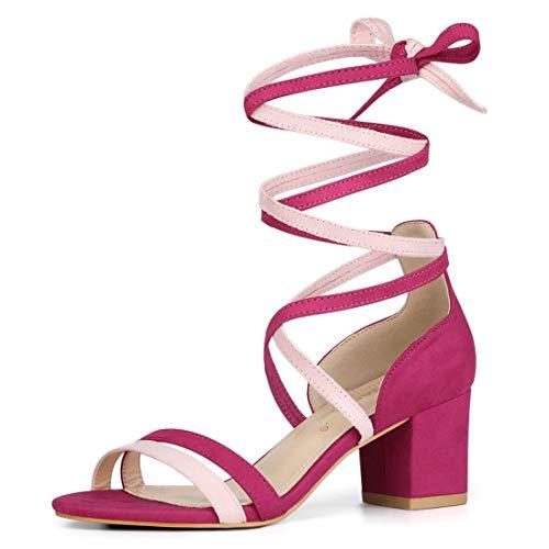 (Allegra K Women's Open Toe Lace Up Color Block Heel Rose Pink Sandals - 9 M US)