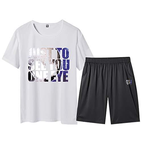 Men's Short Sleeve Jumpsuit Overalls Sports Sets Summer Leisure Fashion Printing Plus Size Shorts Red (Penguin Belted Belt)