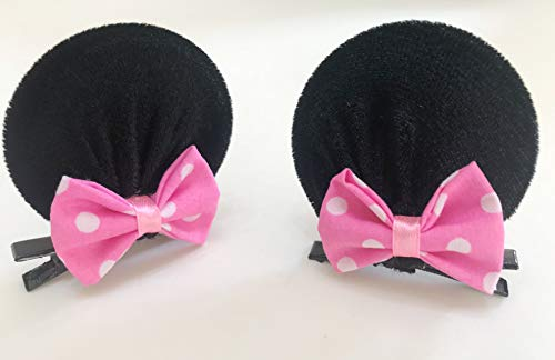 MeeTHan Minnie Mouse Clips Ears Baby Elastic Hair Clips Costume Accessory :M12 (Minnie clip 6 cm)]()