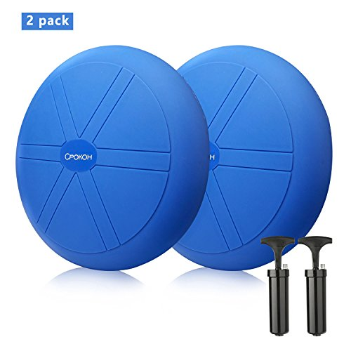 CPOKOH Balance Cushion,Balance Boards, 35cm Air Stability Wobble Cushion,Core Balance Disc, Posture Trainer, Fitness Stability Pad,with Free Pump (Blue(2 Pack))