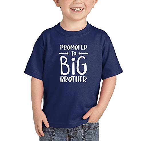 Promoted to Big Brother - New Bro Infant/Toddler Cotton Jersey T-Shirt (Navy, 5T) (Brothers Last Property Name)