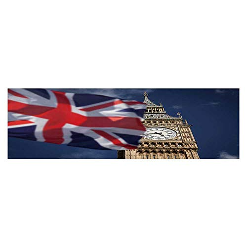 Aquarium Collage British Union Jack Flag and Ben Clock Tower at City of Westminster Paper Fish Tank Backdrop Static Cling Wallpaper Sticker L29.5 x H21.6