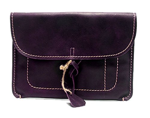 file Folder pocket Briefcases laptop messager bag case cow Leather for men women customize handmade purple z800