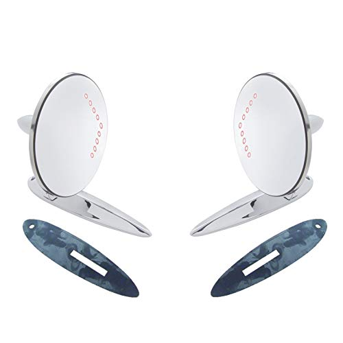 Octane Lighting Fits:1955-1956-1957 Chevrolet Bel Air, 210, 150, Sedan Delivery & Nomad Car Exterior Outside Side Rear View Door Lens Mirror & LED Turn Signal Pair (2)