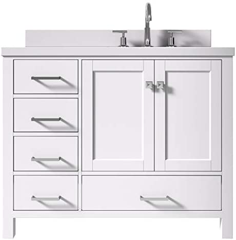 ARIEL 43 Inch White Bathroom Vanity with Pure White Quartz Countertop Right Offset Rectangle Sink 2 Soft Closing Doors and 5 Full Extension Dovetail Drawers No Mirror