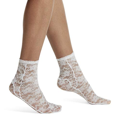 (HUE Women's Fashion Shortie Anklet Socks, Assorted White - Lace One Size)