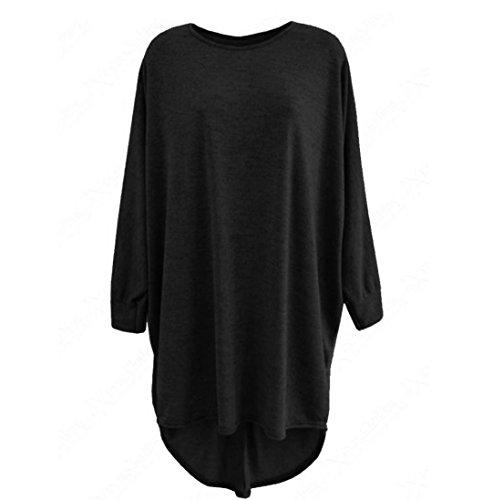 Blackobe Women's Solid Lightweight Knitted Long Sleeve Round Neck Tops Blouse (XL, Black)