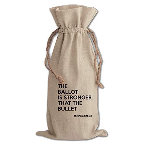 Ballot The Bullet (Abraham Lincoln) Cotton Canvas Wine Bag, Cotton Drawstring