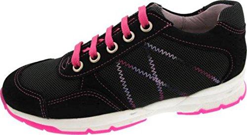 Däumling Schnürschuh, Mädchen Schuhe, Lederschuhe, Sportschuhe schwarz-pink (Turino schwarz)