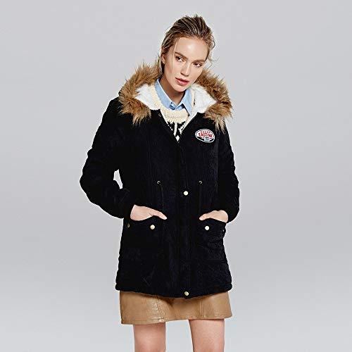 255a162c214 ❤ Abrigo con Capucha Cuello de Piel para Mujer