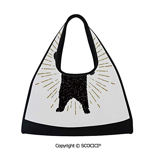 Badminton bag,Sketch of Tribal Icon with Roaring Bear and Sunburst Effect Vintage Wildlife Decorative,Sports and Fitness Essentials(18.5x6.7x20 in) Black White ()