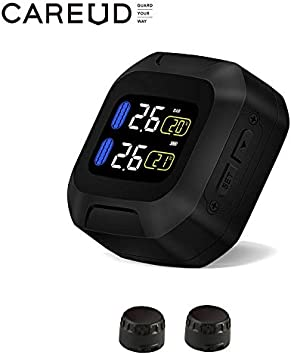CAREUD TPMS Sensor Tire Pressure Monitoring System Real Time Monitoring Pressure and Temperature for Motorcycle External Sensor (Black)
